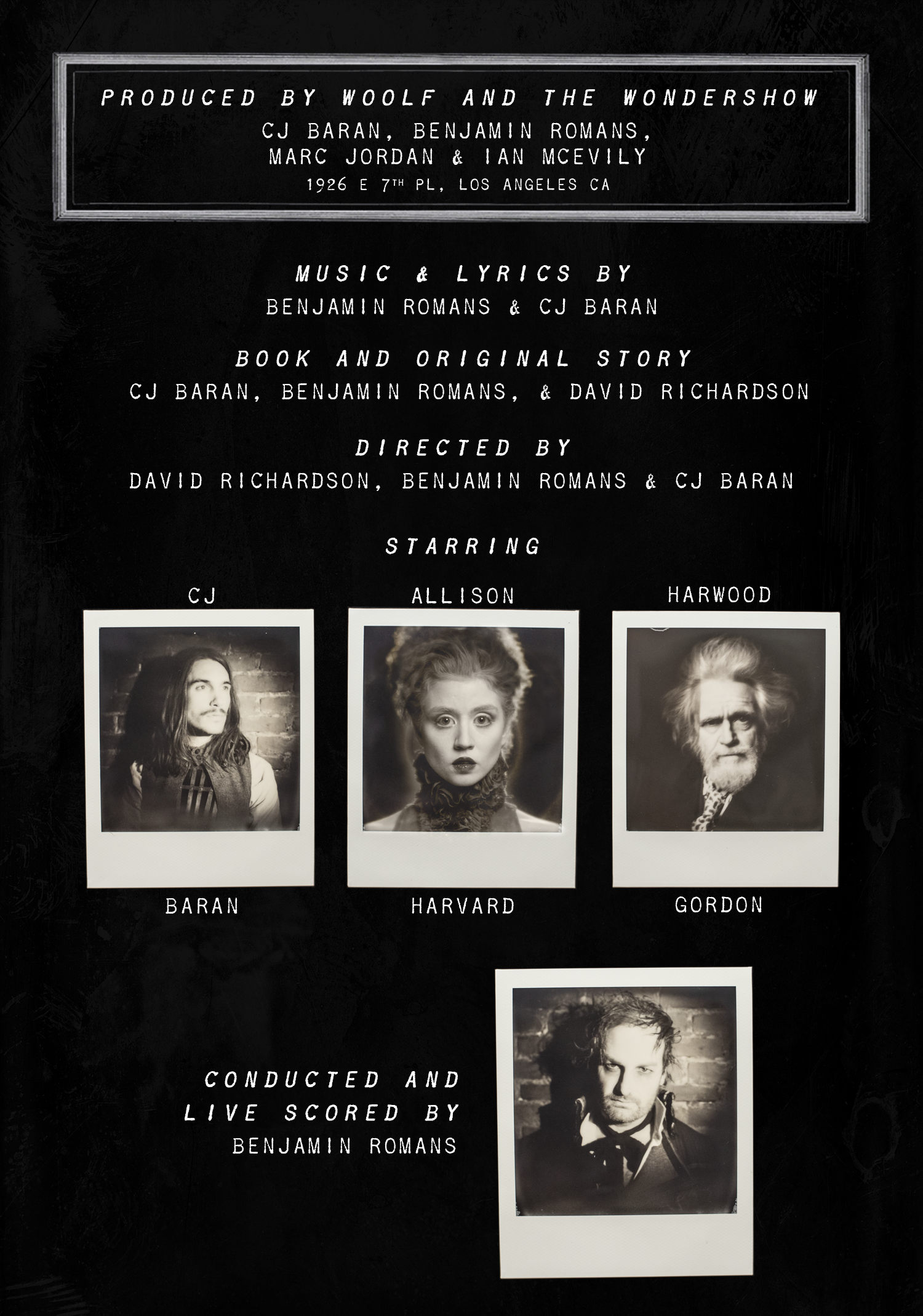 Woolf and the Wondershow - Program Page 2 - Credits and Starring