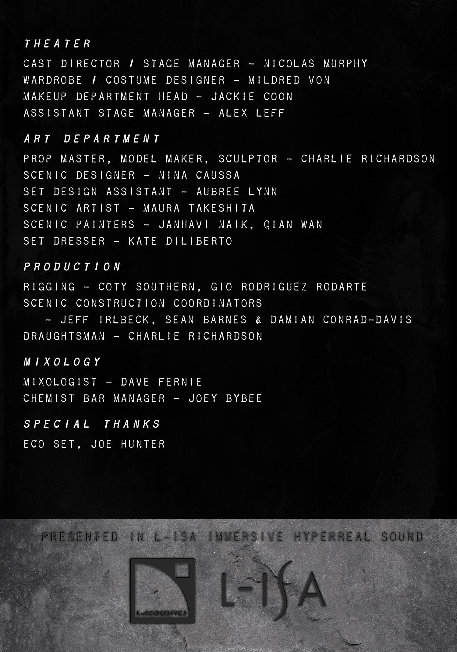 Woolf and the Wondershow - Program Page 5 - Production